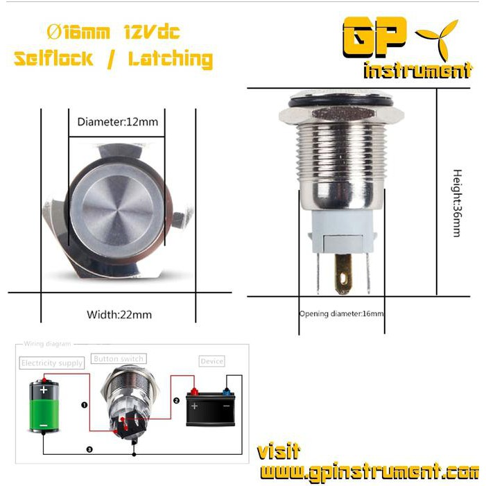 """19mm 3//4/"""" Momentary Push Button Power Starter Switch Boat Horn Metal w// LED"""