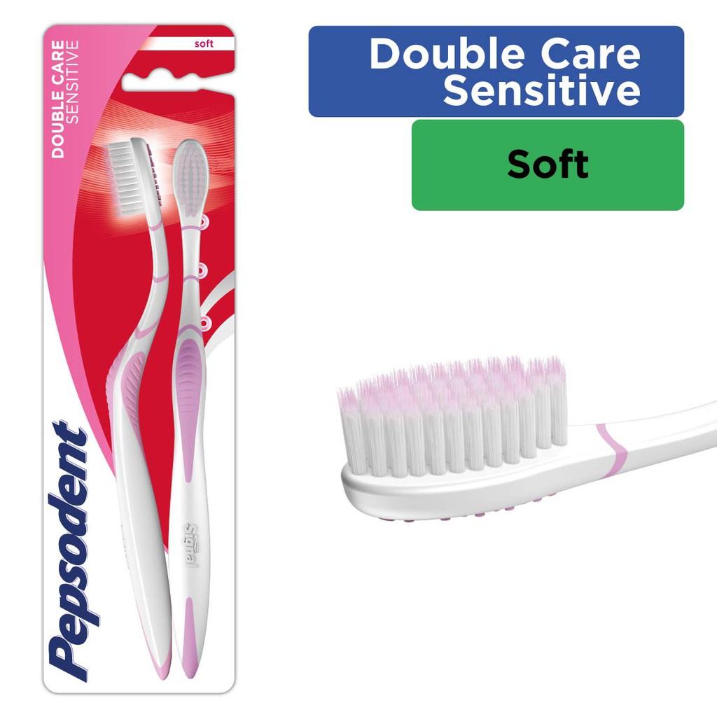 Pepsodent Double Care Sensitive Sikat Gigi Soft Isi 2  d7b59b9fda