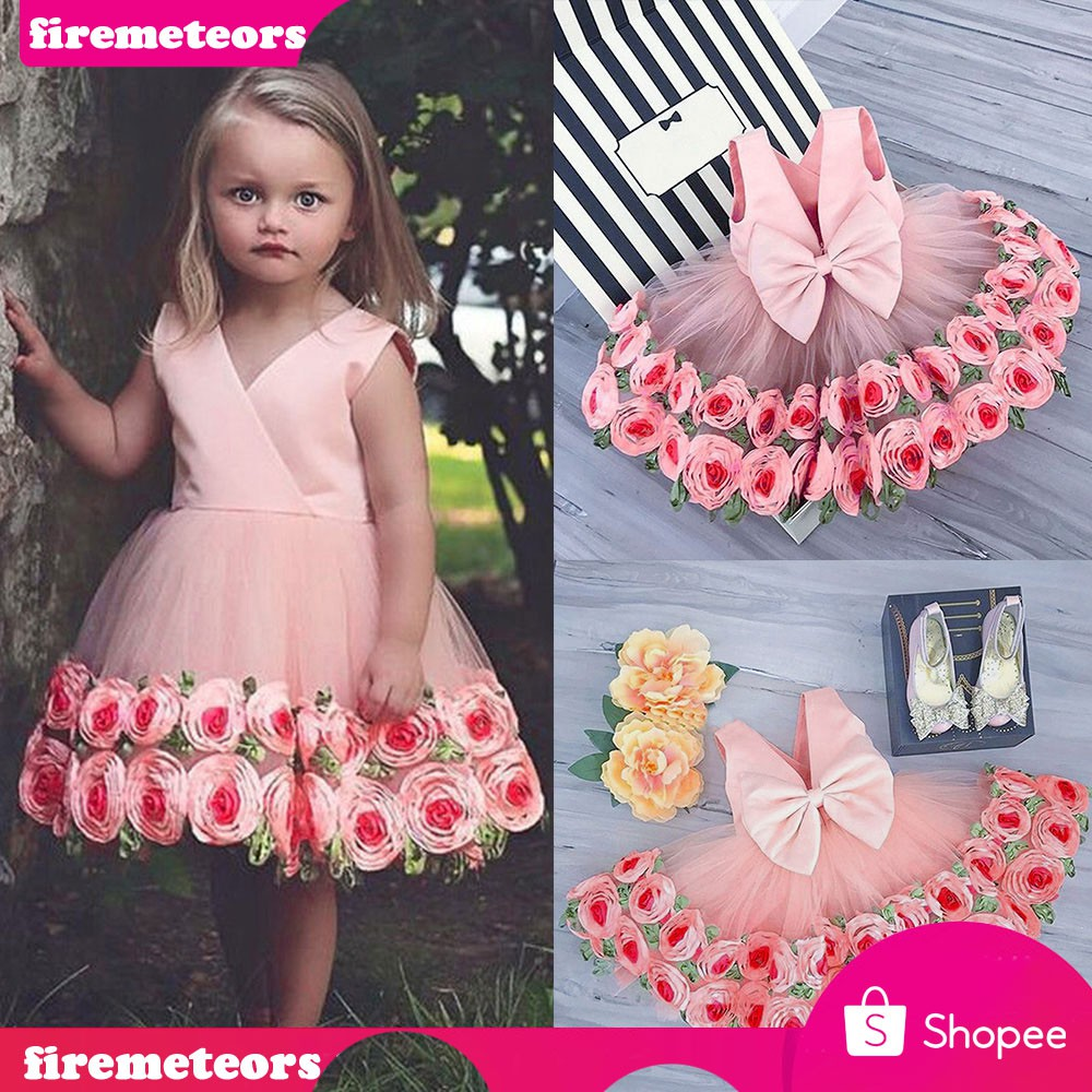 Ruffle Flower Girls Princess Dresses Party Pageant Wedding Bridesmaid Ball Gown