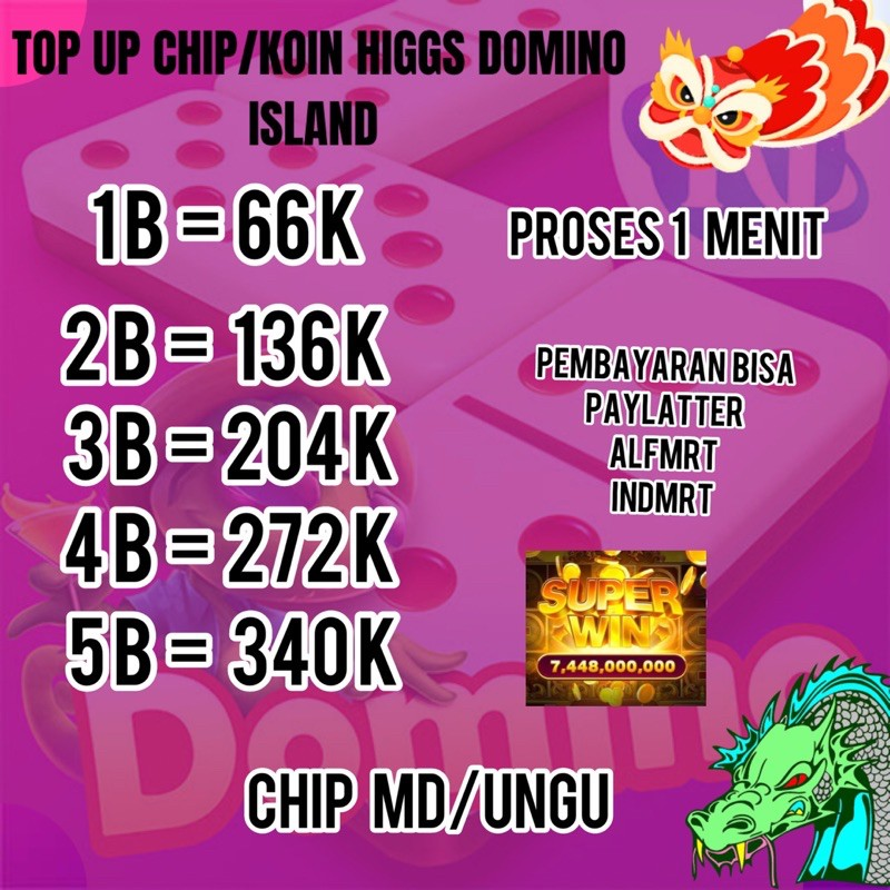 TOP UP CHIP/KOIN HIGGS DOMINO ISLAND MD/UNGU