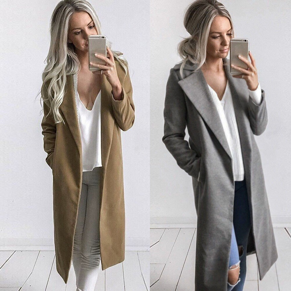 Korean Womens Fashion Coat Trench Parkas Long Coat Loose Lapel Casual Outwear