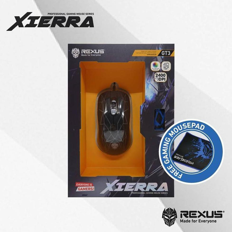 Rexus X6 Xierra Gaming Mouse Gamers Gamer Game Mous Rxm Black X9 Fs Gt3 Free Mousepad Shopee Indonesia