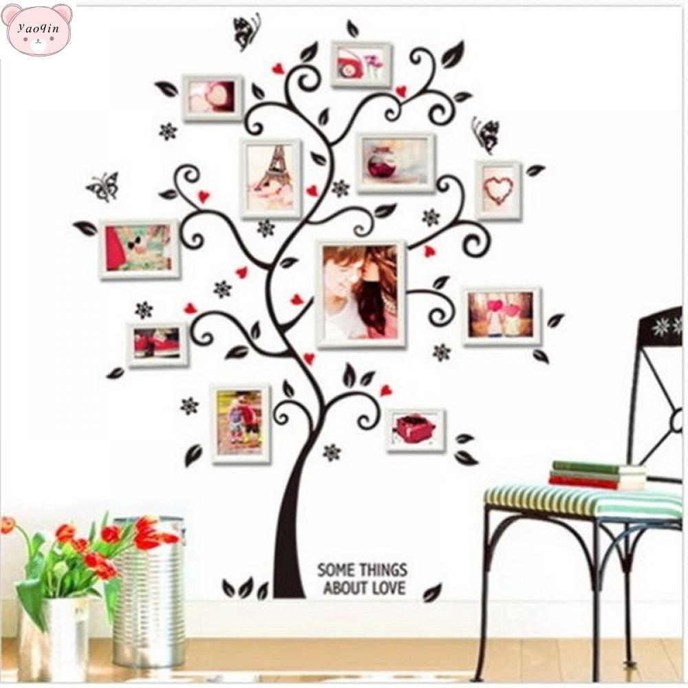 Stiker Dinding Dengan Bahan Mudah Dilepas Gambar Pohon Bingkai Foto Warna Hitam Untuk Dekorasi Rumah