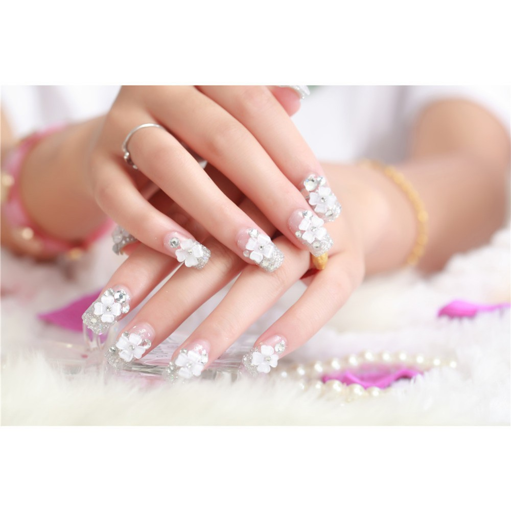Kuku Palsu Wedding Na012 Shopee Indonesia Jbs Nails Fake Nail Art 3d A18
