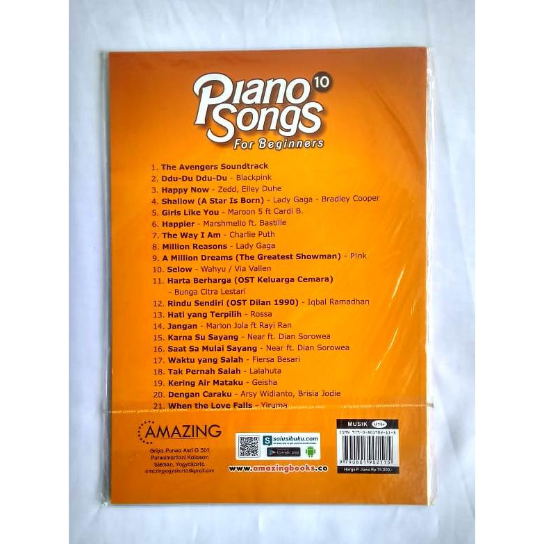 Piano Songs 10 For Beginners Buku Lagu Shopee Indonesia