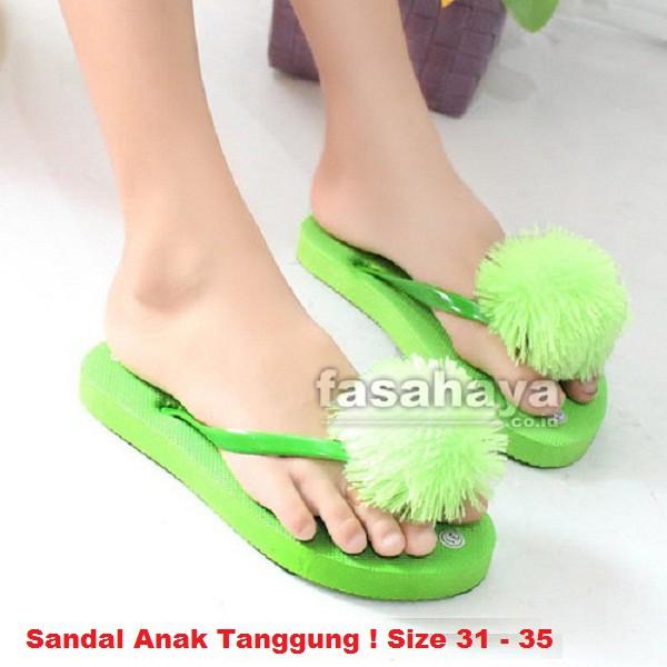 Fasahaya Sandal Wanita Jepit Teplek Spon Pom Pom Anak Cantik Berkualitas JPAT02 Hijau | Shopee Indonesia