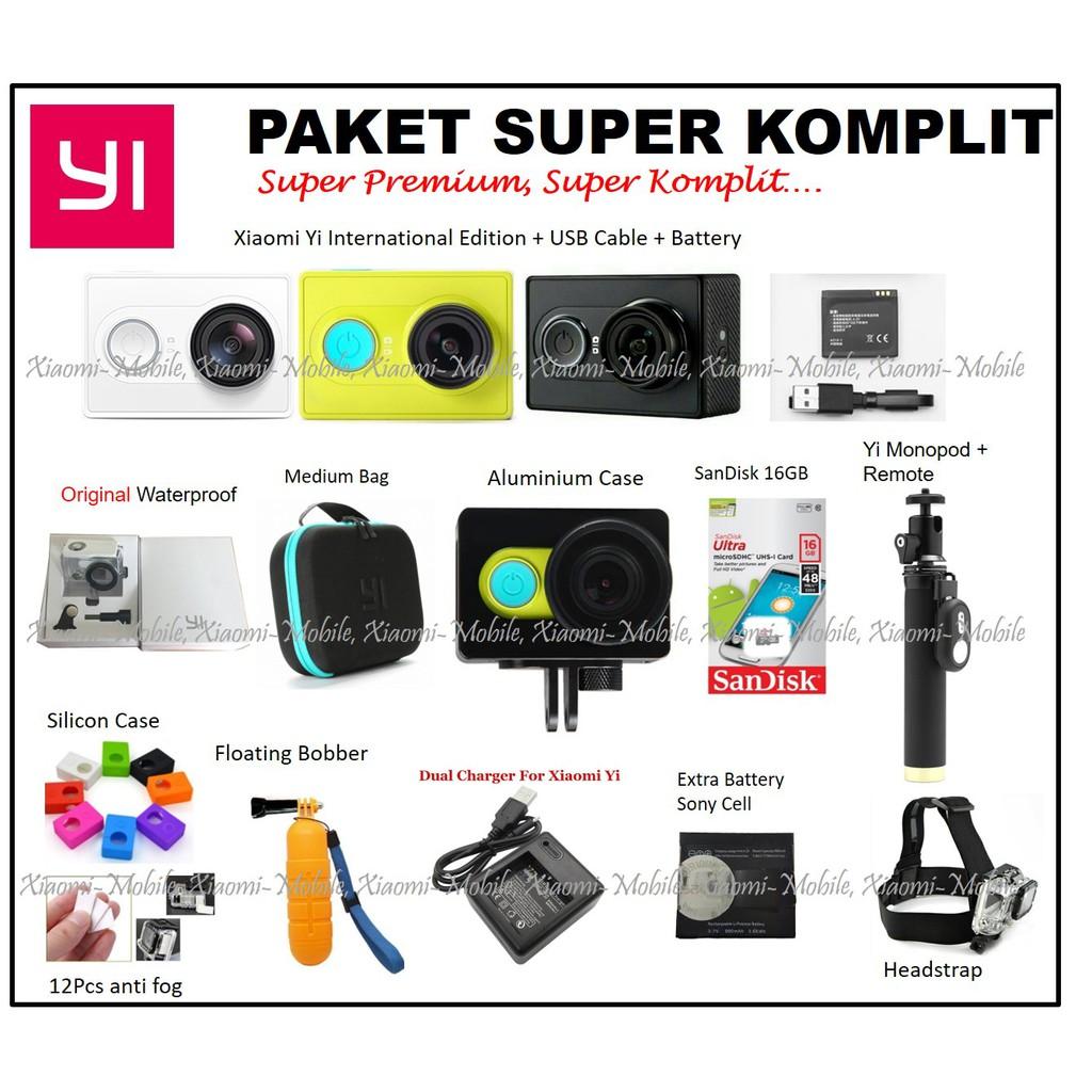 Xiaomi Yi International Version Paket Hemat Dengan Original Extra Battery Free Kotak Baterai Hitam Waterproof Shopee Indonesia