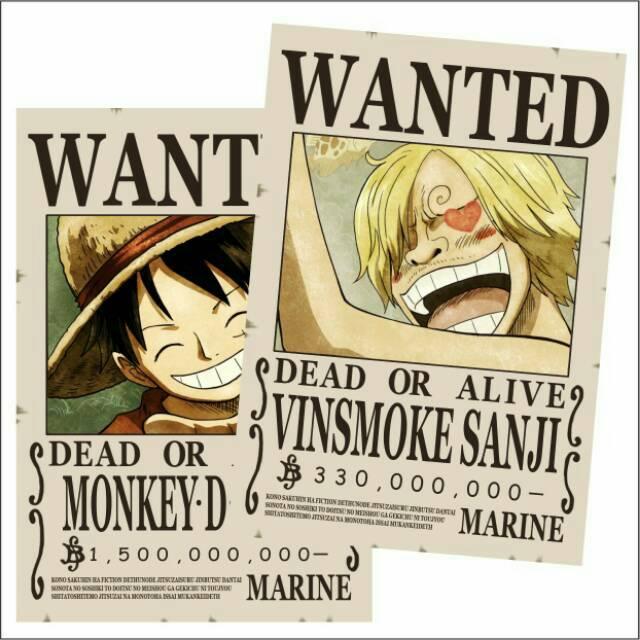 Poster One Piece Bounty Poster Wanted One Piece Karakter Luffy Dan Kru Mugiwara