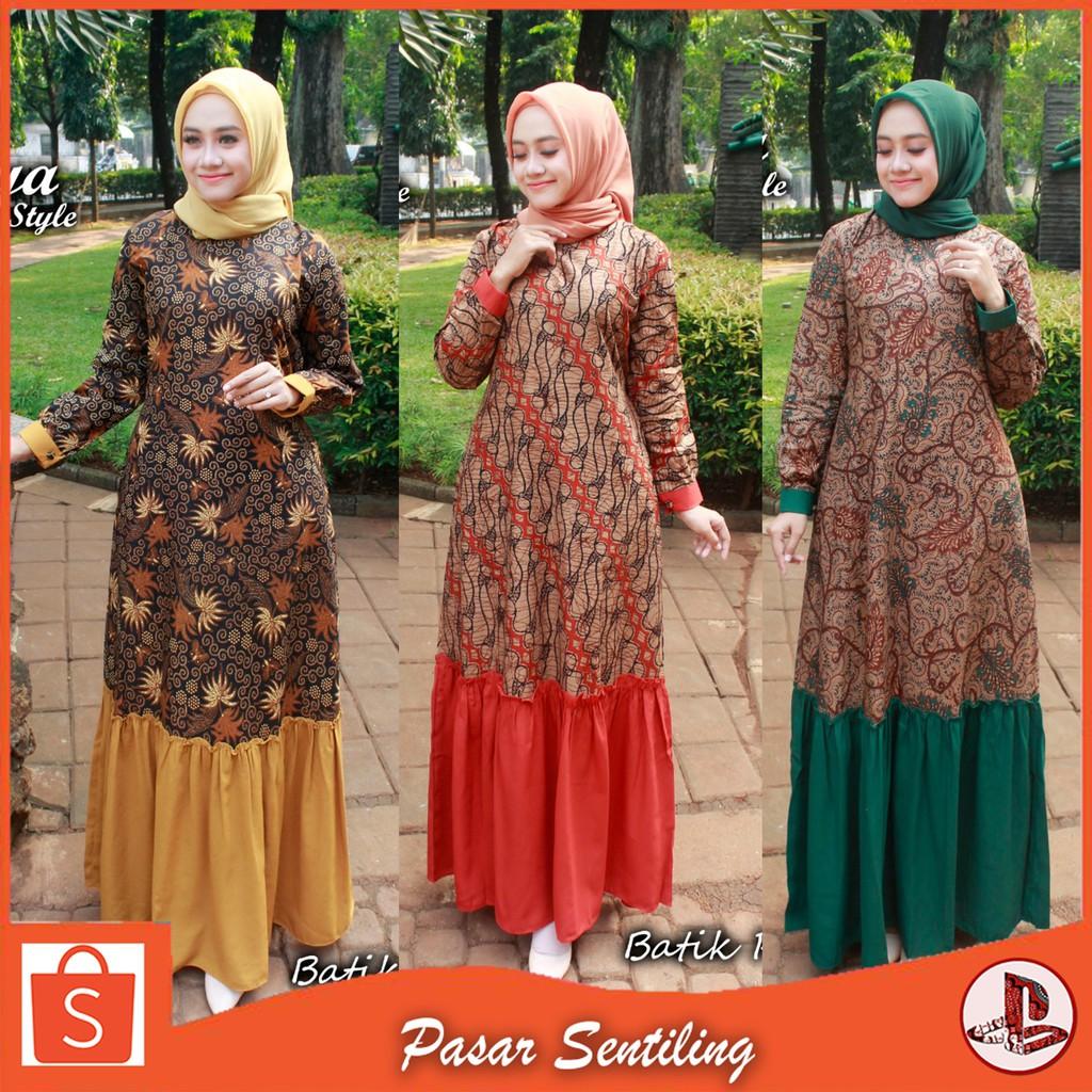Baju Gamis Batik Meisya /Gamis Kombinasi Brokat / Gamnis Batik Kombinasi  Polos Modern