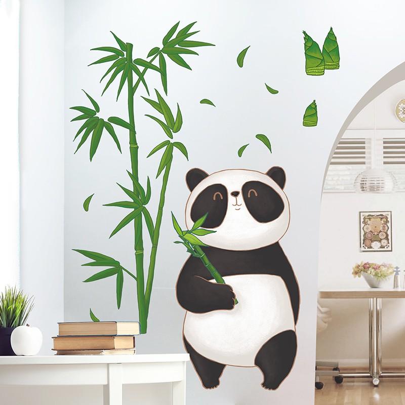 Stiker Dinding Desain Panda 3d Untuk Kamar Tidur Anak