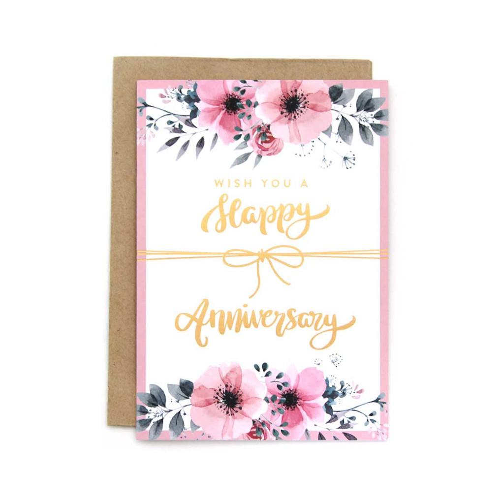 Kartu Ucapan Anniversary Dreamy Wedding Happy Aniv Pink ...