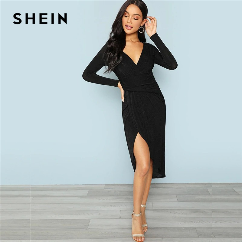 9a39dcc1920 SHEIN Black Office Lady Party Plunging Neck Wrap Split Front Long Sleeve  Solid Casual Dress 2018