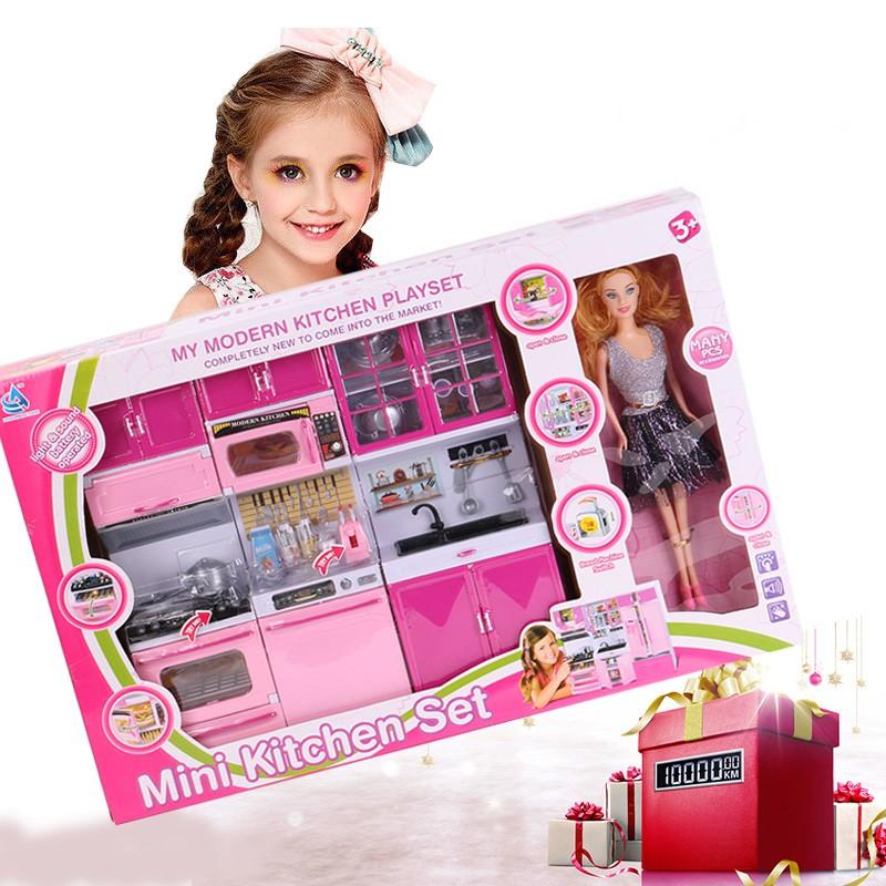 Anak Children Girls Dapur Mainan Kitchen Toys Role Play Pretend Set Barbie Doll Cooking Toy Shopee Indonesia