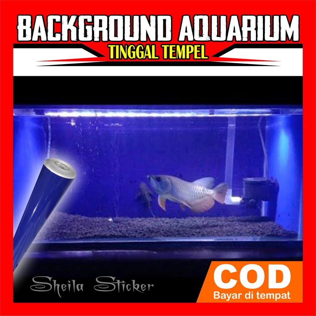 sticker skotlet background aquarium biru gloss/mengkilap