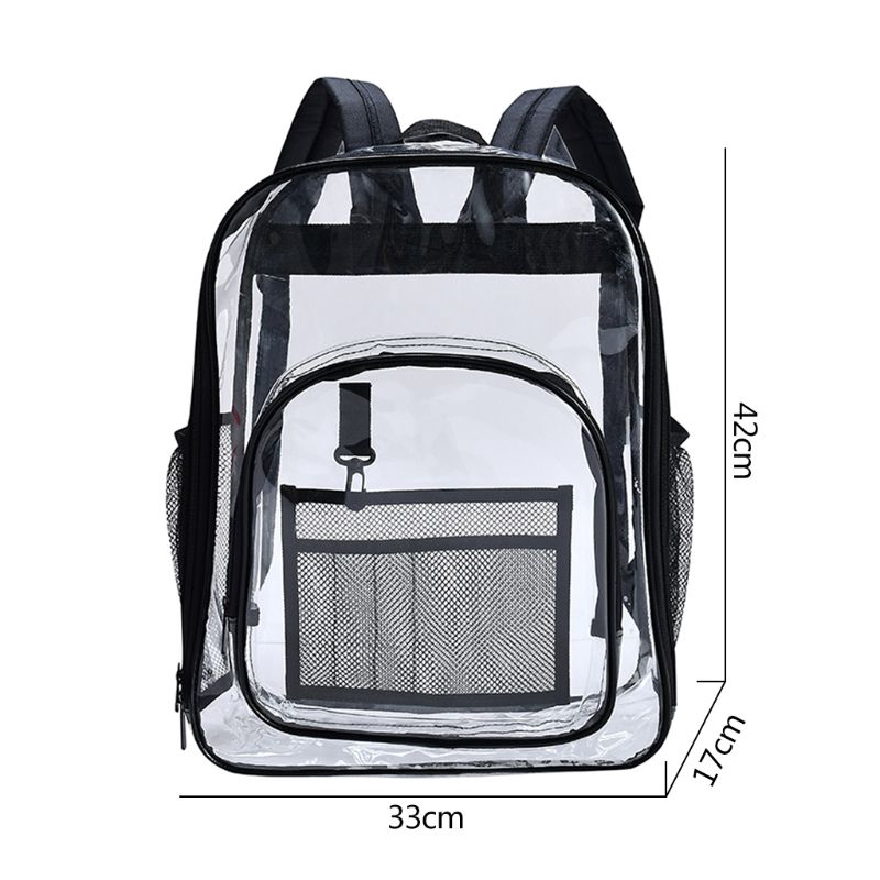 Clear Backpack Heavy Duty See Through Student School Bookbag Transparent Daypack