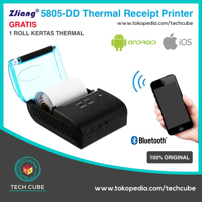 Kekinian Zjiang 5805 DD Mini Portable Bluetooth Thermal Printer Alt ZJ 5802  Termurah