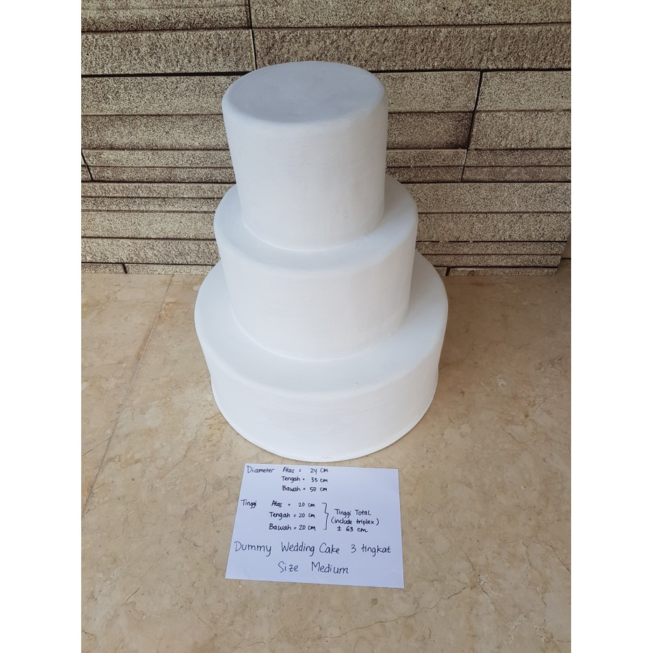 Dummy Keras Wedding Cake 3 Tingkat Medium Putih En 708 Shopee Indonesia