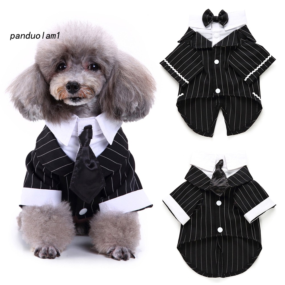 Pdl Jaket Tuxedo Formal Motif Garis Dengan Dasi Kupu Kupu Untuk Anjing