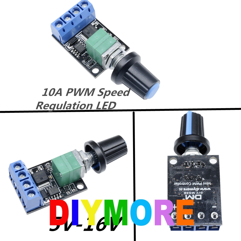 DC Motor Speed Control Potentiometer Governor PWM Regulation Board LED Dimming 10A 5V-16V High Linearity Band Switch Module
