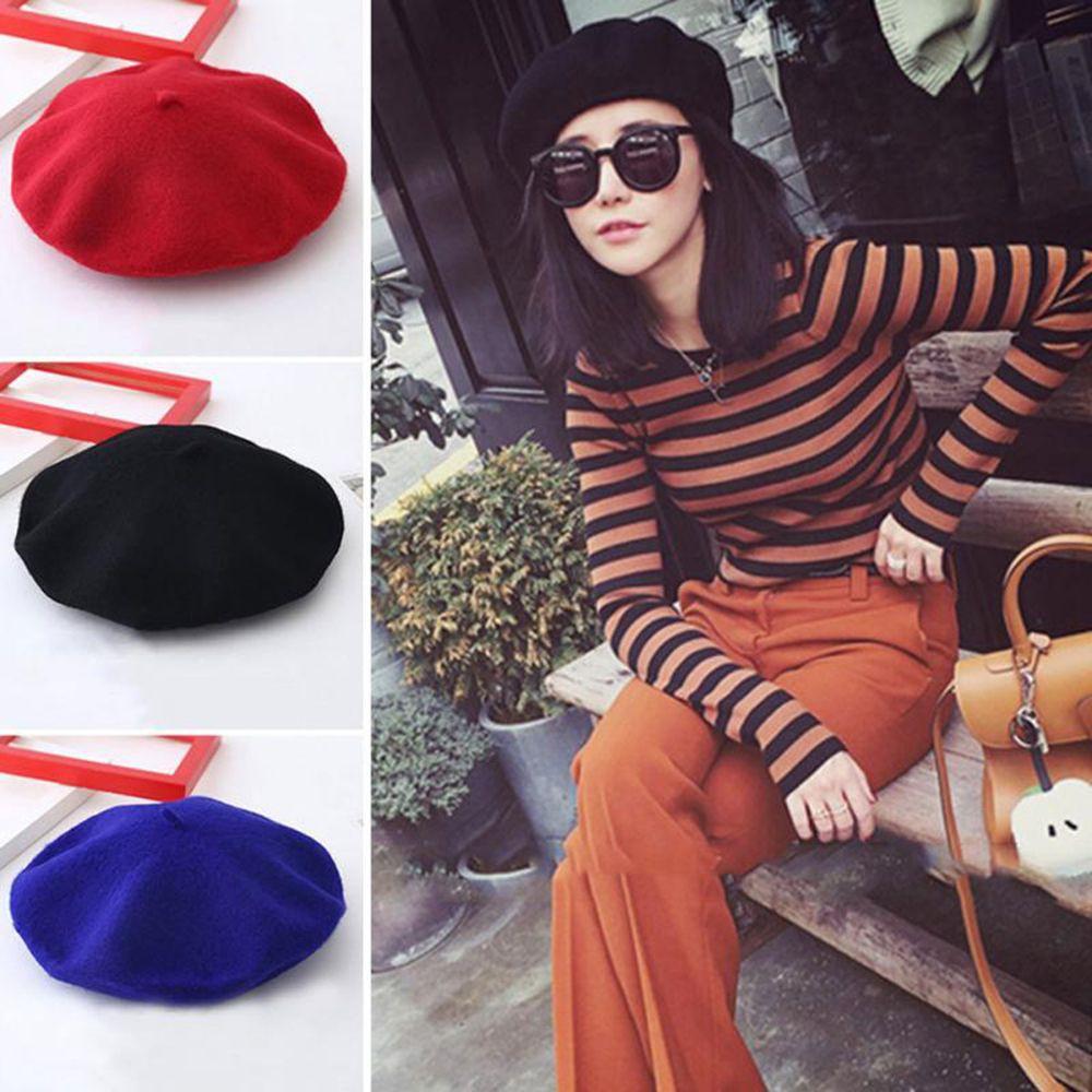 Kupluk Korean woman casual fashion warm pur color flatcap beret hat (Black)   15ff3ba628