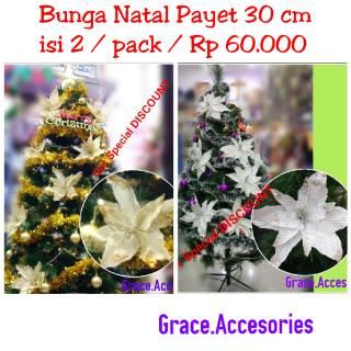dekorasi ornamen bunga natal besar 30 cm pernak pernik
