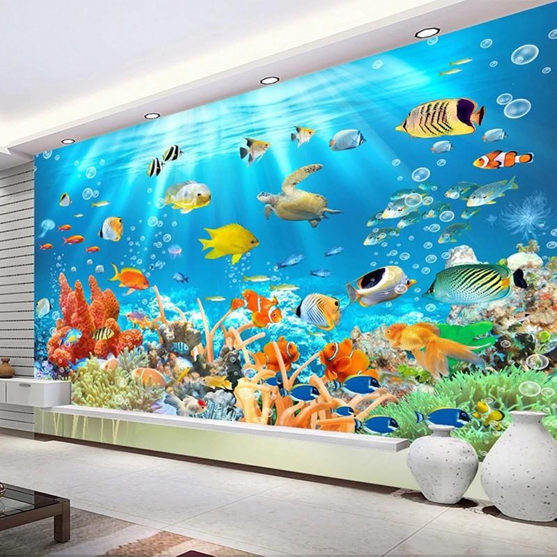 Free Ongkir Kustom Foto Mural Non Woven Wallpaper Timbul Dunia Bawah Laut Ikan Ruang Anak Anak