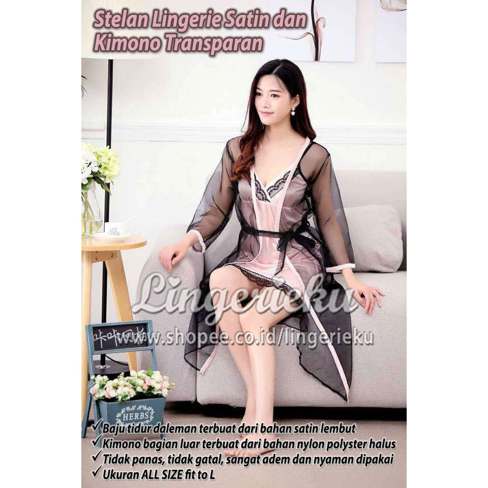 Sexy Lingerie Kimono Set Kemben Baju Tidur Wanita Seksi Lingeri Piyama  Dress Pendek  2dd9d93ddf