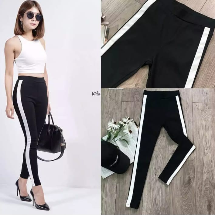 Celana Legging Strip List Putih Scuba Impor Shopee Indonesia