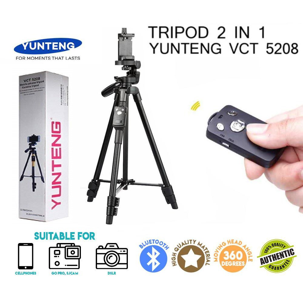 Tripod Yunteng Vct 5208 Bluetooth Remote Controller For Camera Dslr Phone Takara Eco 193a Kamera 193 A Shopee Indonesia