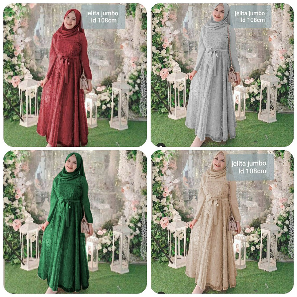 MAXI JELITA JUMBO DRESS GAMIS TILE MUTIARA BORDIR JUMBO DRESS MUSLIM 9 WARNA