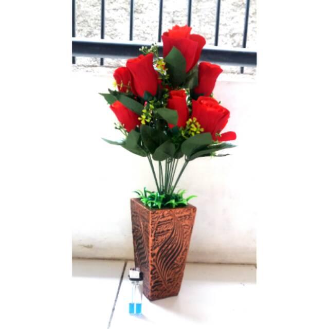 Bunga Mawar Merah Plastik Bunga Pohon Hias Plastik Bunga Hiasan Meja Plastik Shopee Indonesia