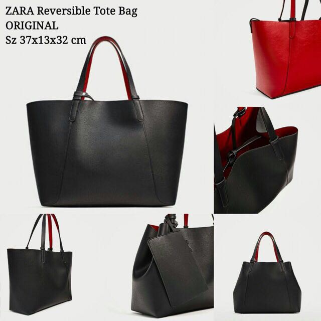 9e4a9091332e TAS WANITA ZARA REVERSIBLE TOTE BLACK BAG ORIGINAL