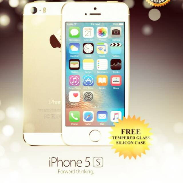 IPHONE 5S 16GB GOLD Free Tempered Glass dan Silicon  bbb2a35db7