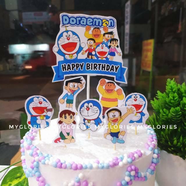 Paket Topper Doraemon Hiasan Kue Ulang Tahun Cupcake Shopee Indonesia