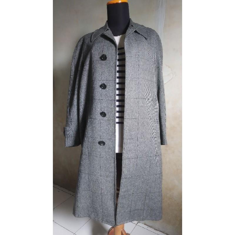 Long Coat SANYO Kotak Abu Wool  For Men Preloved Mantel Jaket Winter Coat
