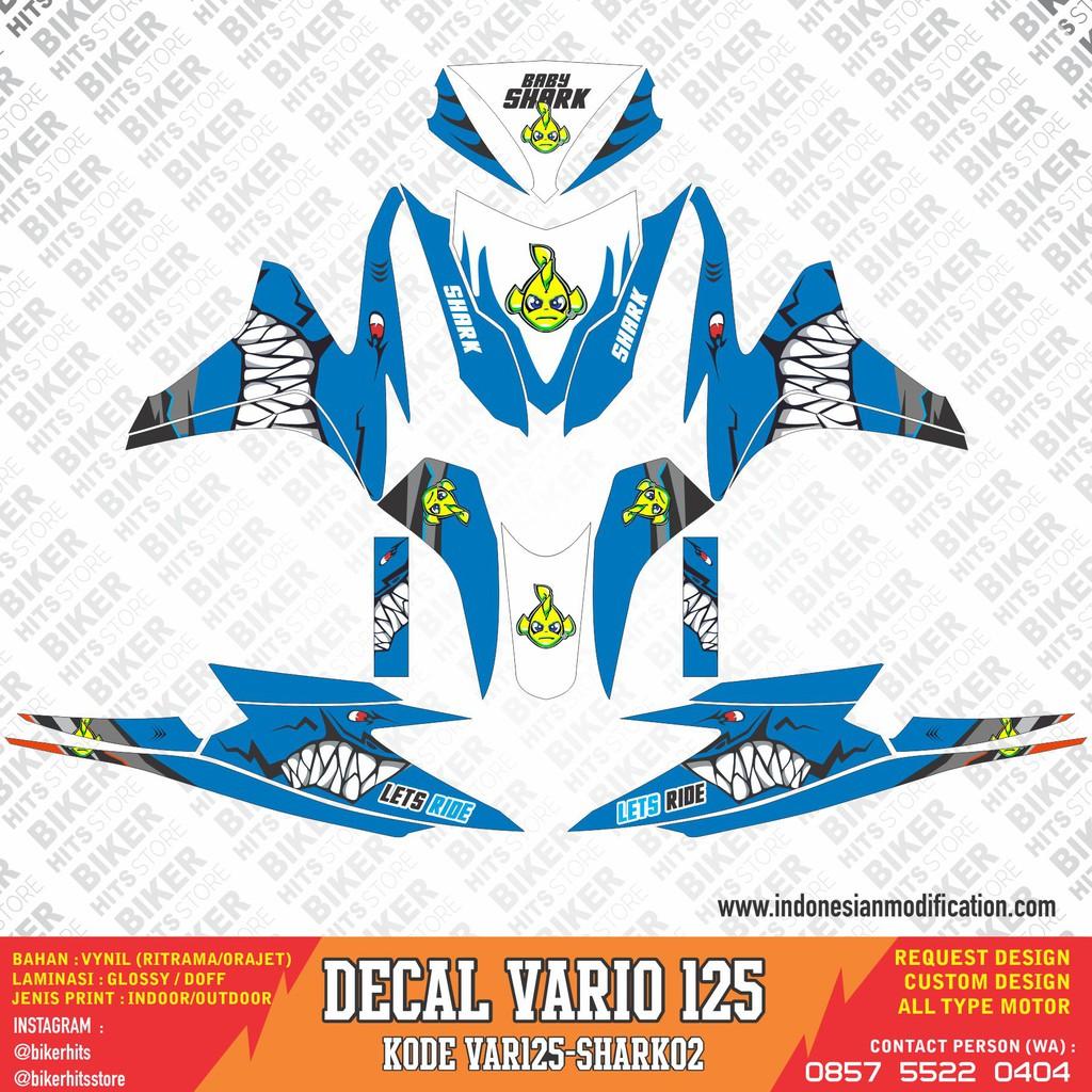 Decal stiker vario fi 125 tema desain shark white blue shopee indonesia