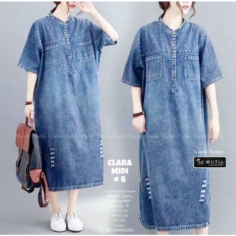 Clara Casual Midi Dress Dres Jeans Denim Wanita Jumbo Big Size Oversize Ori By Mutia #2 3 4 5 6 7 8