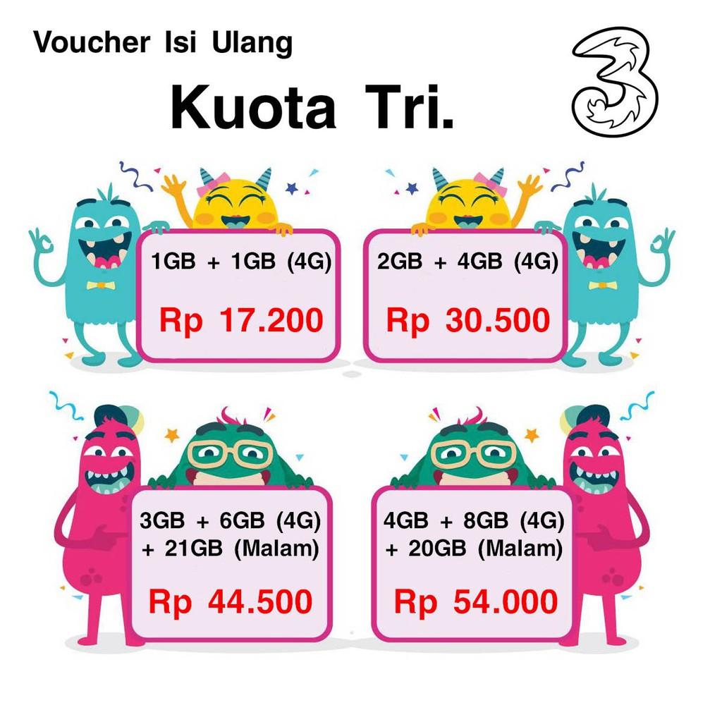 Terlaris Voucher Dan Inject Data Internet Tri 3 Kuota 1gb 2gb Kartu Aon 3gb 4gb 5gb 6gb 8gb 10gb 33gb Shopee Indonesia