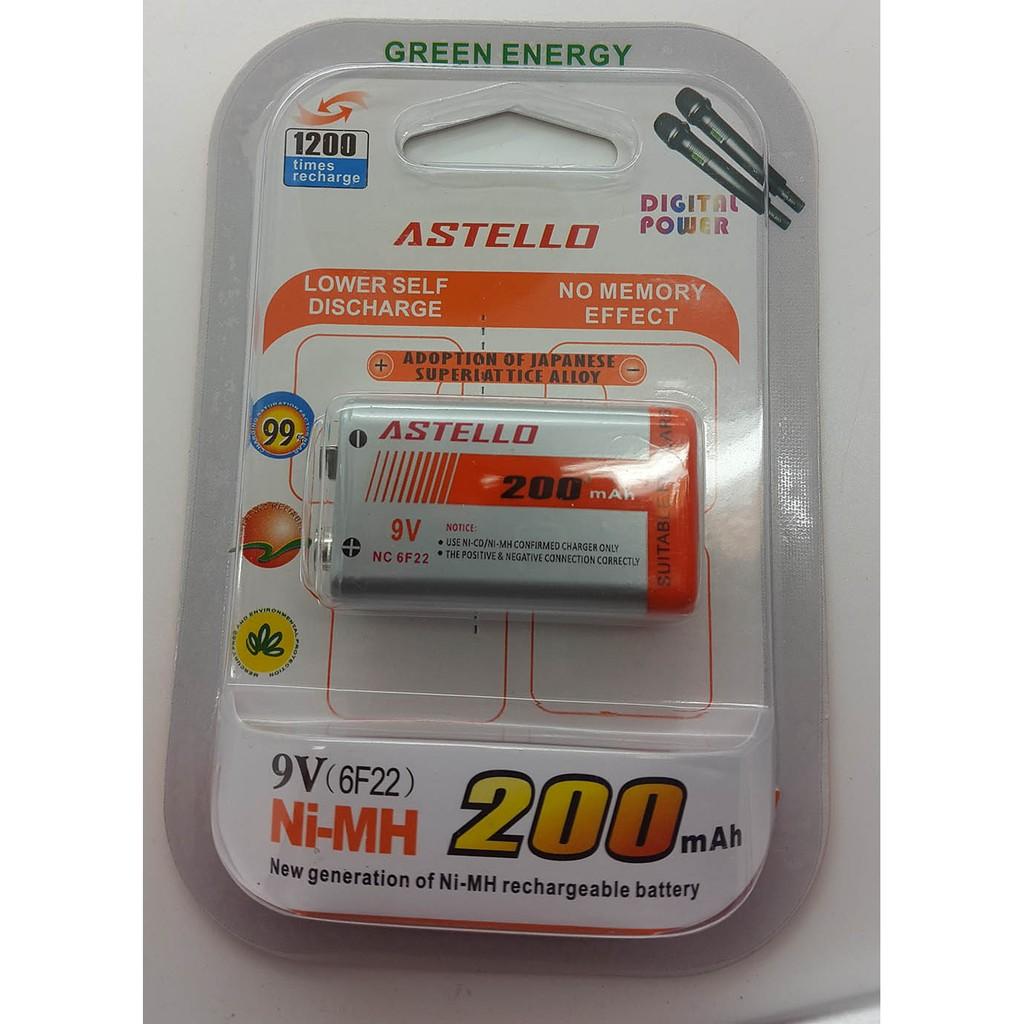 ASTELLO Baterai isi ulang (rechargeable battery) NiMH 200mAh 9v | Shopee Indonesia