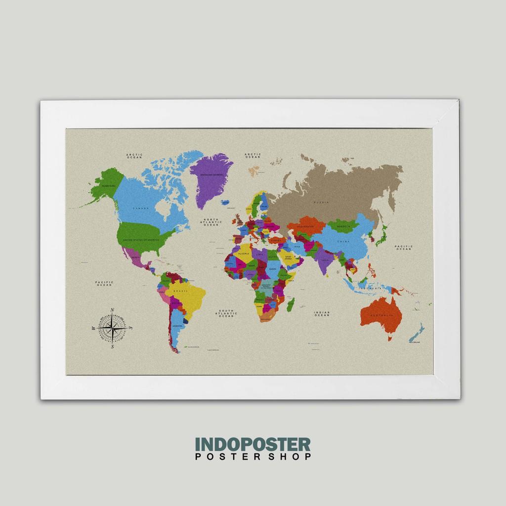 Ip385 Poster Hiasan Dinding Peta Dunia Atlas World Map Color 45x30cm Shopee Indonesia