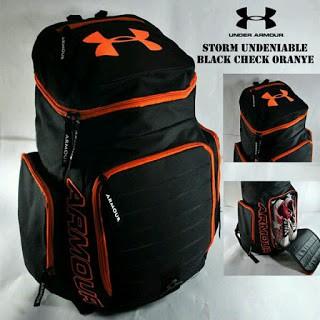 PRIA REMAJA DEWASA SEKOLAH KULIAH Backpack Bodypack Under Armour Storm Full  Hitam List Putih  0126b41808