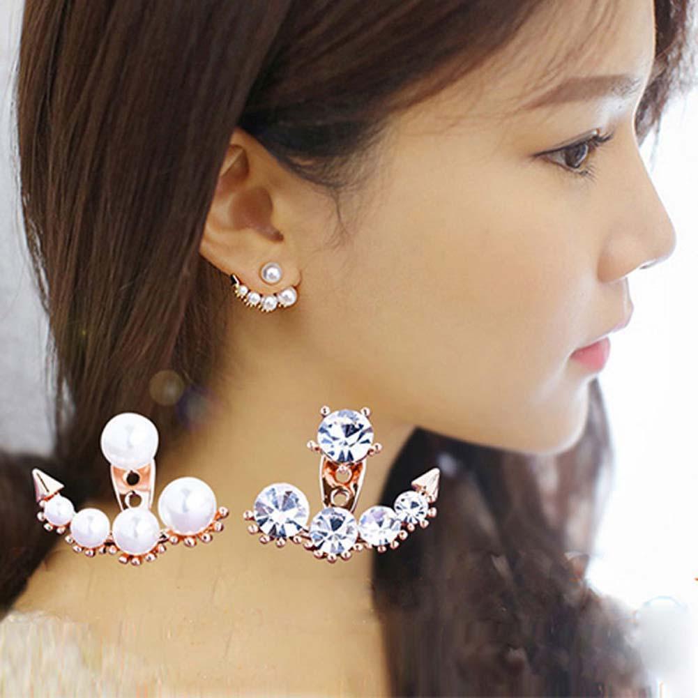 Boho Tassel Crystal Pearl Earrings Set Women Ear Stud Dangle Charm Jewelry Gift