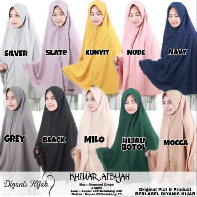 Jilbab Hijab Khimar Syar I Jumbo Ped Antem Warna Navy Mocca Mustard Shopee Indonesia