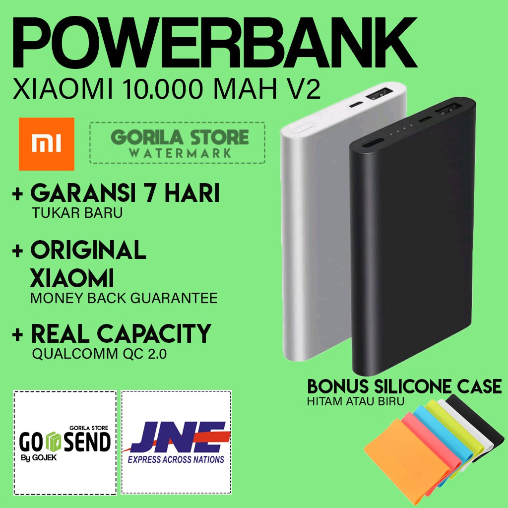 Xiaomi Mi Power Bank 10000 Mah Original Garansi Shopee Indonesia Silicone Case Powerbank 5000 Hitam