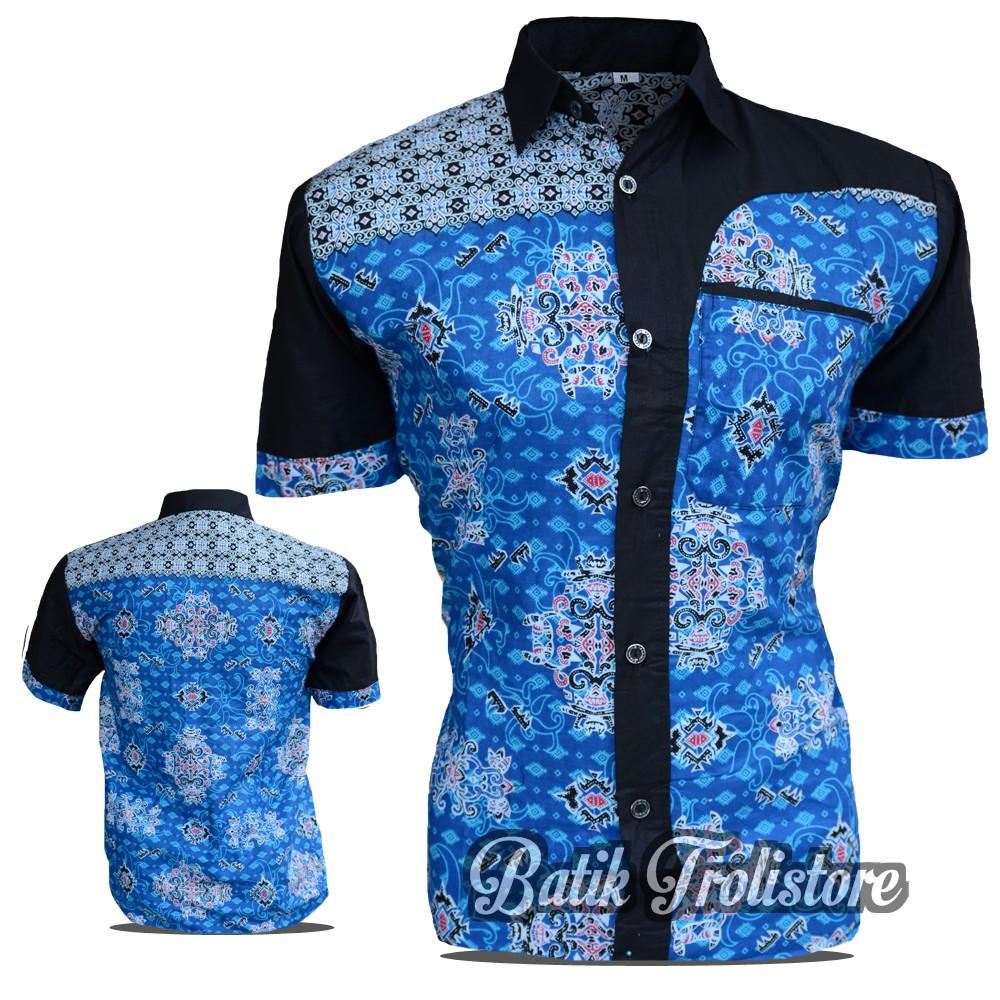 45 Gambar Baju Batik Pria Lengan Pendek Warna Biru Kekinian