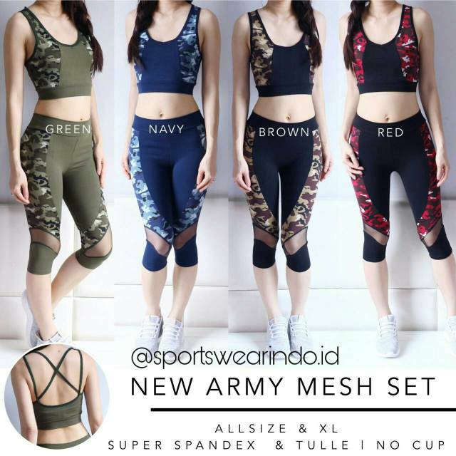 NEW ARMY MESH SET/ Baju Olshop Terbaik/ Baju Senam Import