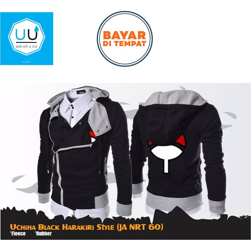 (Bahan Fleece TEBAL)  Hoodie  Jaket Harakiri Korea Jepang Naruto Sasuke Ninja   dfb580d099