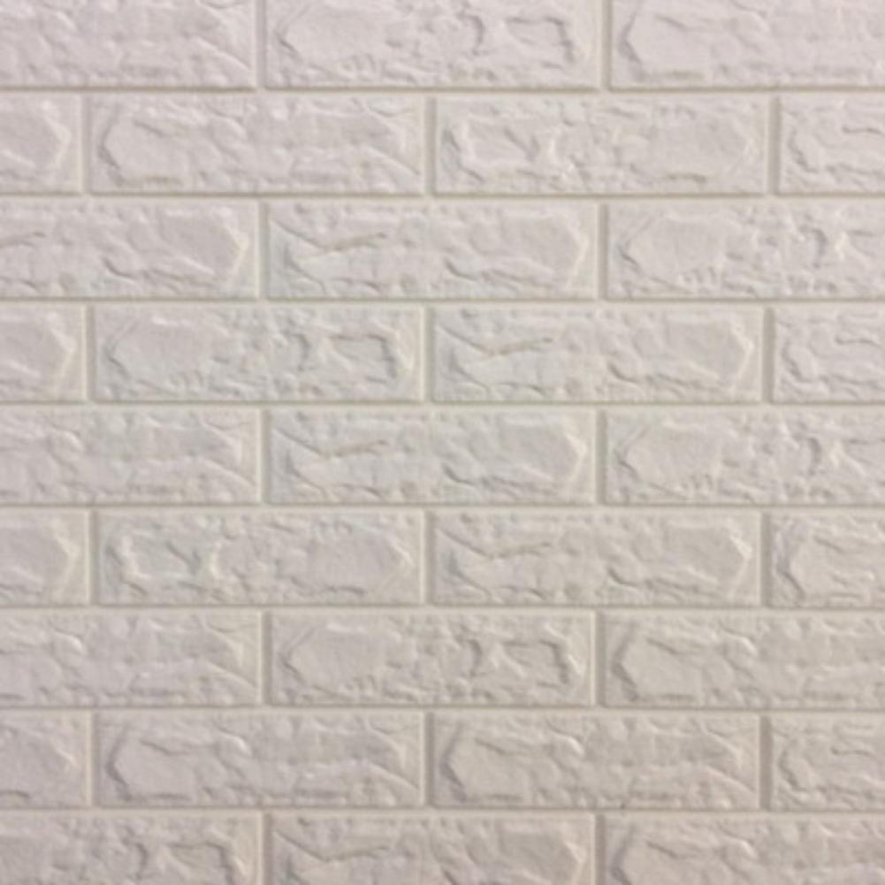 Stiker Wallpaper Dinding 3d Motif Batu Bata Warna Putih Shopee Indonesia