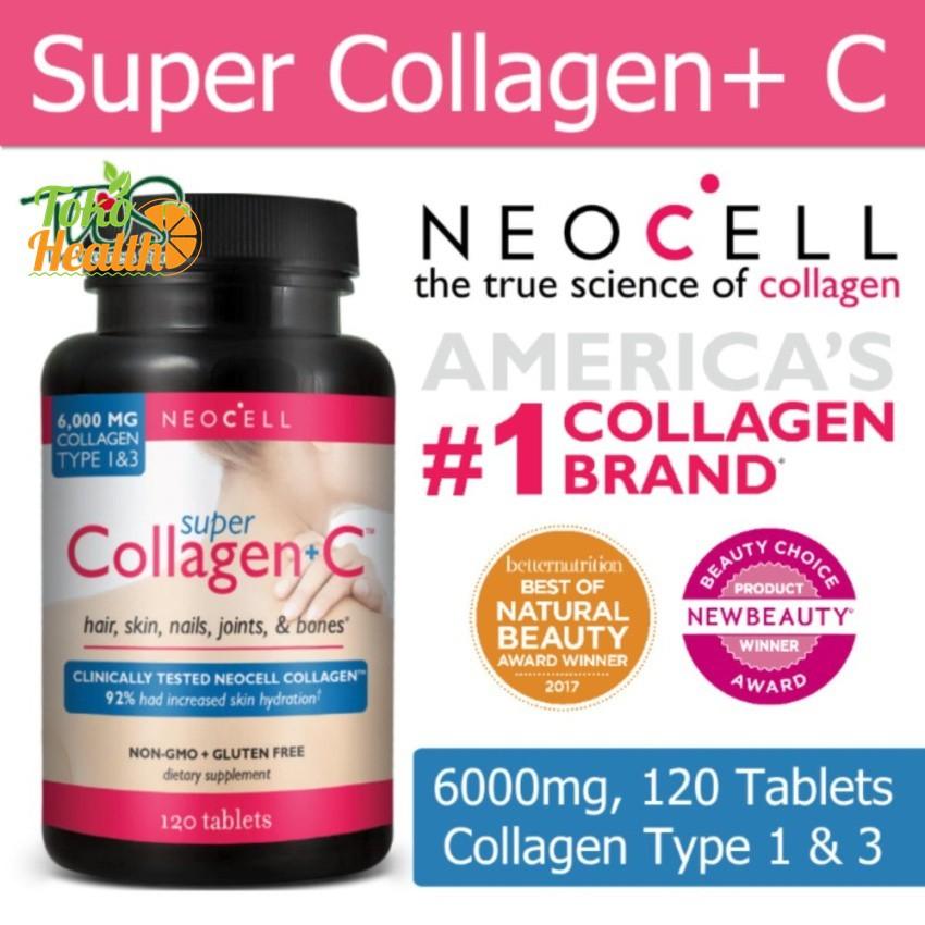 Neocell, Super Collagen+C, Type 1 & 3, 120 Tablet / Suplemen