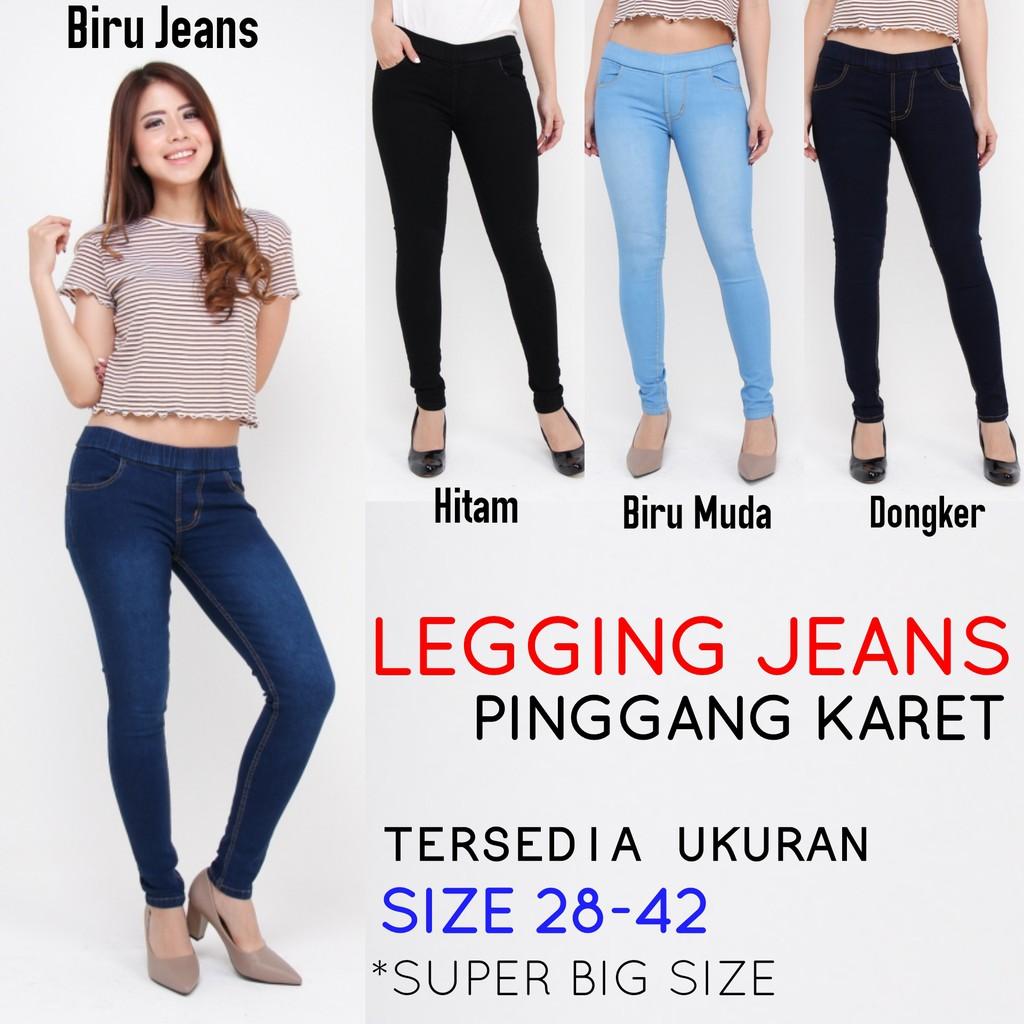 Celana Legging Jeans Wanita Size 27 42 Pinggang Karet Cewek Denim Jsk Big Size Jumbo Celana Jegging Shopee Indonesia